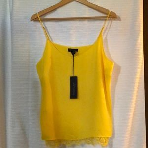 Rachel Zoe - Sleeveless Yellow Lace Trim Top - L